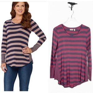 LOGO Stripe Top with Contrast Side Godets Size S